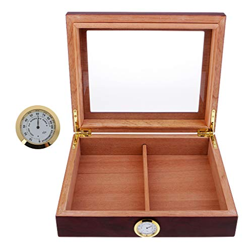 Homyl Zigarren Humidor, Humidor Hygrometer inkl. Hygrometer für die Akustik- / Holzgitarre für 15-20 Zigarren