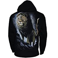 Spiral Majestic Lion Zip Up Hoody Hooded Top