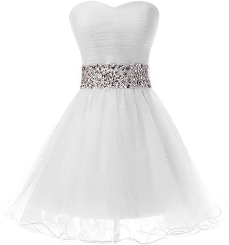 Victory Bridal Attraktive Pailletten Cocktailkleider Kurz Mini Partykleider Abendkleider Festliche Weiß
