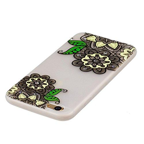 """Coque iPhone 7 , IJIA Ultra-mince Noctilucent Fleur Oiseau Papillon Pink Romantique TPU Doux Silicone Bumper Case Cover Coque Housse Etui pour Apple iPhone 7 4.7"""" FD48"""
