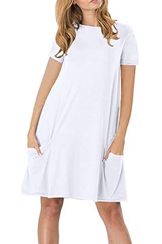 YMING Damen Kurzarm mit Taschen Kleid Lose T-Shirt Kleid Rundhals Casual Tunika Midi Kleid,Weiß,M / DE (Brown Kleid Jeans)