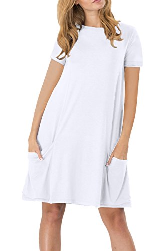 YMING Damen Kleid für Frühling Herbst Casual Blusenkeid Lose Kurzarm Tunika mit Taschen,Weiß,XL/DE 42-44