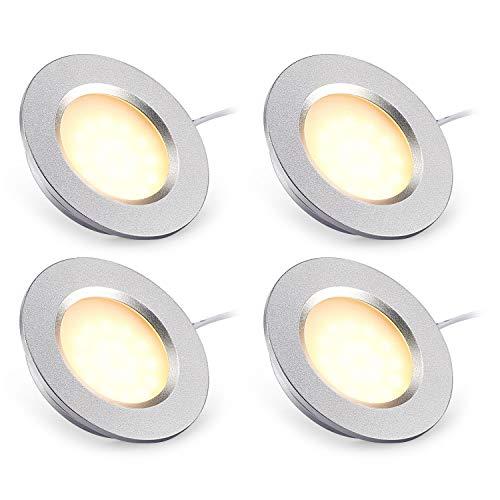Kohree 4 x Faretti LED da Incasso 12V 3w 3000K Lampada da Soffitto per auto/RV/armadio/bagno/camper/barca/cucina Luce Bianco Caldo