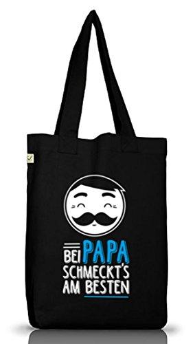 Bei Papa schmeckts am besten, Vatertag Jutebeutel Stoff Tasche Earth Positive (ONE SIZE) Black
