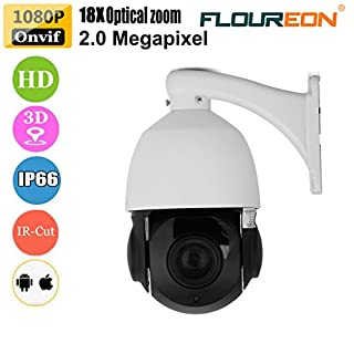 FLOUREON 1080P PTZ Dome IP Camera ONVIF 18X Zoom 2.0 MP CCTV Outdoor Security Camera Auto Focus, Night Vision, 3D Positioning, Motion Detection, Wired Connection (BT-54F)