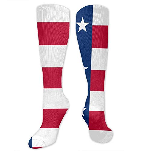 Bgejkos Unisex Texas Flag Knee High Compression Thigh High Socks Tube Socks (Leuchten Texas)