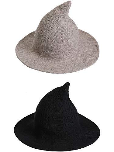 Hexen Kostüm Gruppe - SATINIOR 2 Stücke Halloween Hexenhüte Damen Strick Wollhüte Spitzhüte für Halloween Kostüm Alltagskleidung (Farbe 2)