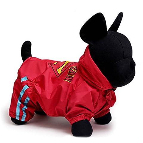 PETCUTE Chiot Chien Imperméable Animal de Compagnie Imperméable Rainwear Slicker Veste Sweat à Capuche Combinaison Pour Petits Chiens de Moyenne Taille Rouge