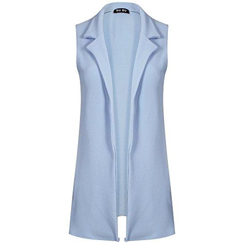 FRIENDZ TRENDZ-Femmes gilet sans manches manteau veste blazer Sky Blue