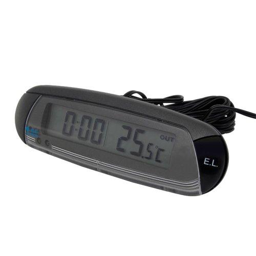 Preisvergleich Produktbild Carpoint 1110006 Thermometer Innen/Aussen mit Uhr und Eis-Alarm