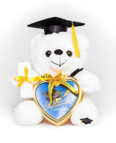 eddy Bear with Cap and Diploma in Hand! Comes with a Heart Shaped Picture Frame! Made From High Quality Materials It Is the Perfect Commencement Gift! by Graduation Gifts ()