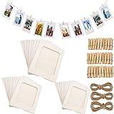 Fashion HW Lot de 30 Cadres Photo en Papier à Monter soi-même avec Clips en Bois et Ficelle en Carton pour décoration Murale de la Maison (Blanc)