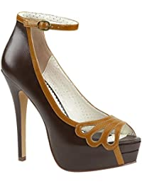 Pin Up Couture SIREN-09 Blk Faux Leather UK 6 (EU 39)