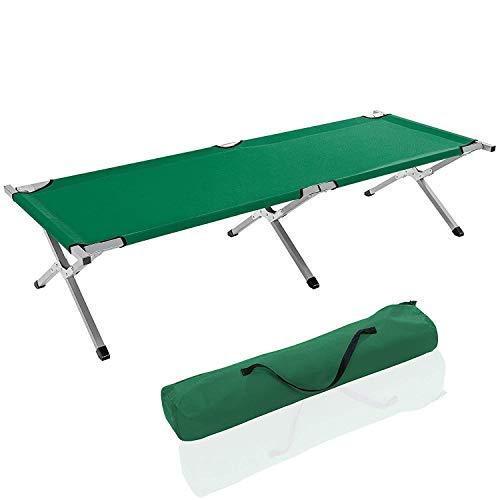 EGLEMTEK Brandina Lettino da Campeggio Camping in Metallo Portata Fino a 150 kg, Inclusa Borsa da Trasporto, Rivestimento in Tessuto Oxford, 190 x 64 x 44 Cm (Colore Verde)