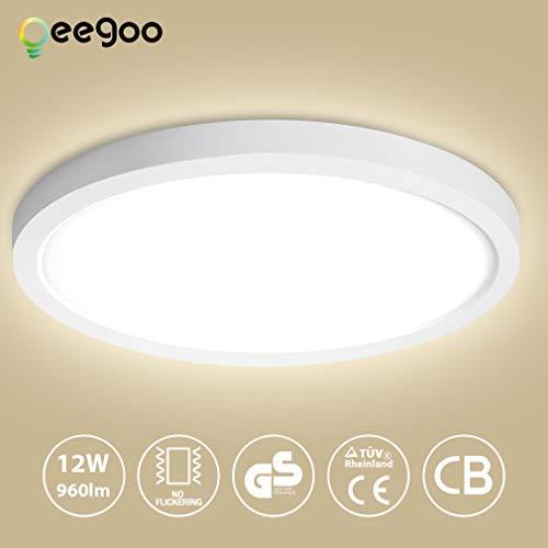Oeegoo LED Plafoniera 12W 13mm Ultra magro Lampada da soffitto luce da incasso LED Rotonda Illuminazione plafoniere 960LM- Equivalente 90W tradizionale lampadina per Soggiorno corridoio cucina