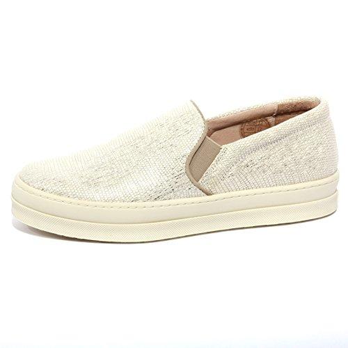 B1224 sneaker donna UNISA scarpa panna effetto lamè slip on shoe woman [40]