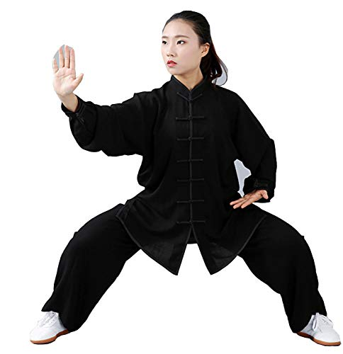FYUUN Tai Chi Uniform Kleidung Kunst Wing Chun Shaolin Kung Fu Taekwondo Trainingskleidung Bekleidung Damen Sommer Leinen Baumwolle Kurzarm,Black-XL