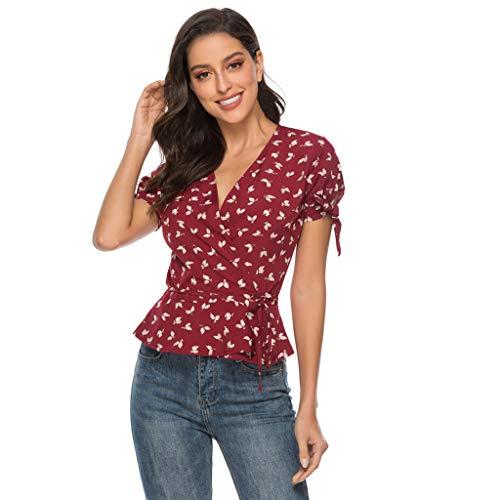 BOLANQ Damen Chiffon Bluse Langarm Pailletten V Ausschnitt Freizeit Tunika Blusen T Shirt Tops