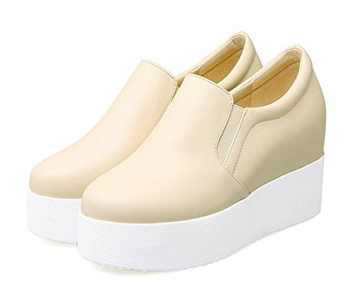 Aisun Damen Modisch Dicke Sohle Glattleder Durchgängiges Plateau Loafers Sneakers Beige