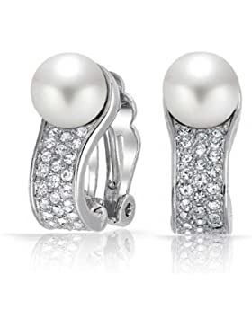 White Simulated Pearl Crystal Clip On Earring Rhodium Plated