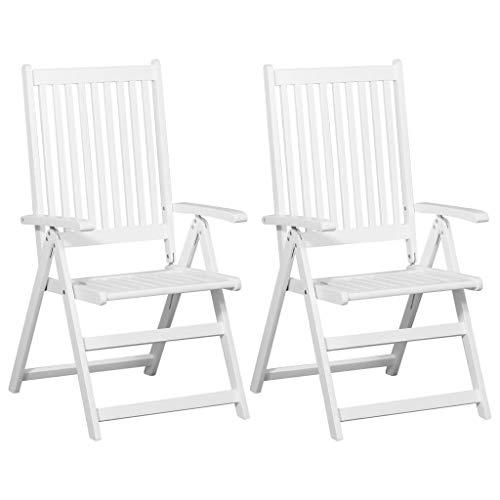 mewmewcat 2er Set Klappstühle Holz Klappbare Essstühle Gartenstühle Klappsessel Gartenmöbel Weiß -