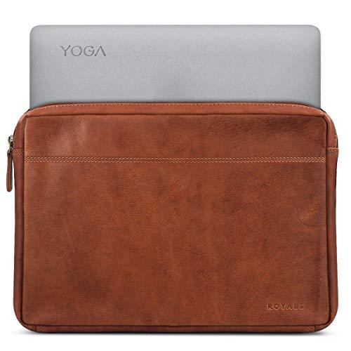 ROYALZ Tasche für Lenovo Yoga 920 Ledertasche (Auch für Yoga 910, Yoga 900s und Yoga 900 Geeignet) Lederhülle Hülle Schutztasche Schutzhülle Cover Sleeve Vintage Leder, Farbe:Cognac Braun