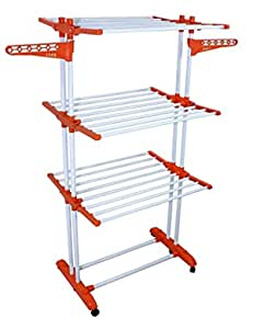 Branco 2 Pole Support 3 Layer Cloth Dryer Stand Drying Rack with Wheel for Home and Balcony - Prince Jumbo (Blue) (Made in India)