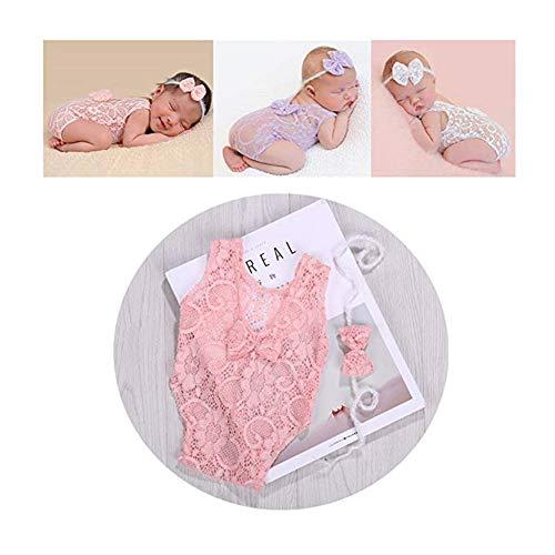 Neugeborenes Baby Fotografie Requisiten Mädchen Spitze Bogen Weste Bodys Strampler Foto Schießen Prinzessin Kleidung (Rosa)
