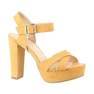 Elara Damen Pumps | Bequeme Peep-Toe Pumps | Trendige Plateau High Heels | Chunkyrayan LM-001 Yellow-40