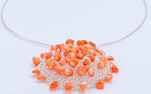 Silberkette mit Korallenanhänger,Halskette für Sie,Korallenschmuck,Unikatschmuck,Halskette Silber mit gehäkeltem Anhänger,Halsreifen mit Anhänger,Silberschmuck