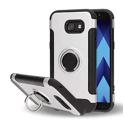 NALIA Handyhülle kompatibel mit Samsung Galaxy A5 2017, Magnetischer Ring für Auto KFZ-Halterung mit 360-Grad Finger-Halter, Dünne Schutzhülle Cover Hard-Case mit Ständer, Slim Bumper, Farbe:Silber A517 Case Cover
