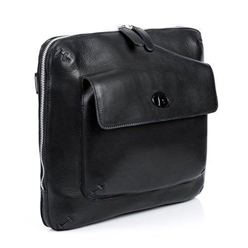 F-Star Umhängetasche NEO - Ledertasche mit Schultergurt fit für 14', iPad mit Extra-Abtrennung- Schultertasche - echt Leder schwarz