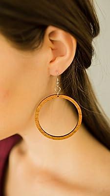 John Leslie Studios femmes Bois Boucles d'oreilles de naturel régénérés acajou marron