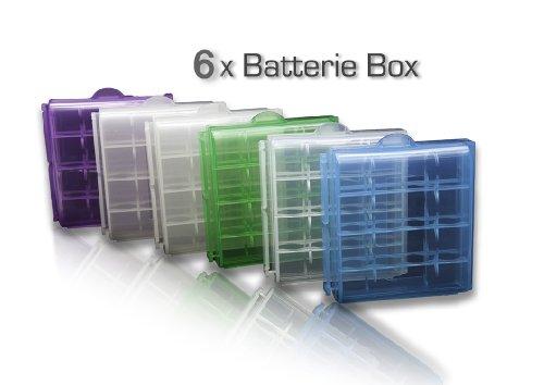 bd@ 6x Batterie-Aufbewahrungsbox für 4x AA oder 4x AAA Batterien