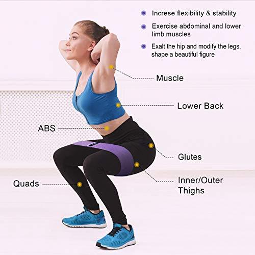 OMERIL Bandas Elasticas Musculacion,  Antideslizantes Bandas de Resistencia de Tela,  Cintas Elasticas para Gluteos,  Cadera,  Piernas,  Brazos,  Yoga,  Pilates,  Crossfit,  Fitness,  Ejercicios