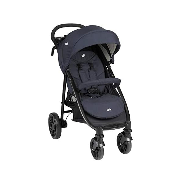 Joie Litetrax 4 Pushchair Navy Blazer  Bumper bar, raincover, shopping basket and parent tray with cupholders UPF 50+ sun canopy and oversized expandable hood SoftTouch 5-point safety harness adjusts to 3 heights 4-position recline and 2-position leg rest One-hand instant fold with automatic lock 1