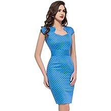 GRACE KARIN Vestidos Azules Puntitos Azules Vestido de Fiesta Causual Lápiz Vintage Vestido ...