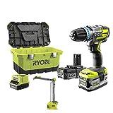 Set brushless Schlagbohrschrauber RYOBI 18 V OnePlus R18PDBL – LED-Lampe R18ALF – 2 Akkus – Schnellladegerät R18PDBL-252LT
