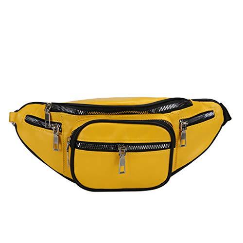SIXCUP Gürteltasche Damen Hüfttasche Metallic Wasserabweisend Bauchtasche Reißverschluss Wild Brusttasche Umhängetasche PU Running Gürtel Tasche Bauchtasche Outdoor Sporttasche (Yellow)