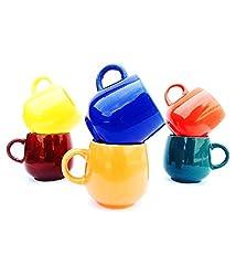 CDI Electronics U-shaped Medium Multicolour Mugs (6Pcs) Microwave Safe,Multicolor