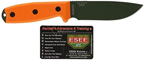 Esee - Outdoormesser | Klingenlänge: 11,43 cm - Orange Griff: G-10 - Model 4 Part Serrated -