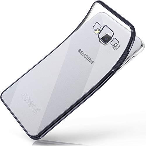 moex Samsung Galaxy A5 (2015)   Hülle Silikon Transparent Anthrazit Chrom Back-Cover Silikonhülle Dünn Schutzhülle Handyhülle für Samsung Galaxy A5 2015 Case Ultra-Slim Tasche TPU