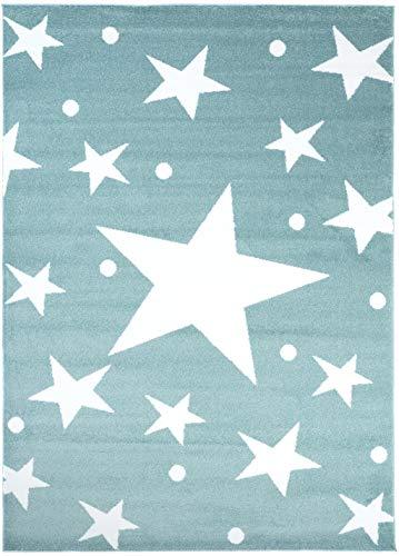 Carpeto Rugs Teppich Kinderzimmer Stern Muster Jugendizmmer Mint Blau 80 x 150 cm S