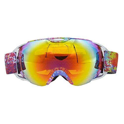 GoGou Ski/Snowboard Gogles Clear für Winter Schneesport mit Anti-Fog UV Schutz über Gläser Schutzbrillen für Männer, Frauen&Jugend (Pink) (Ski-schutzbrillen Polarisierte Schwarz)