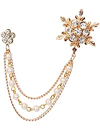 Mahi Rose Gold Plated Men's Eye Catching Stone Studded Snow Flake with Three Chain Pin Brooch BP1101027Z