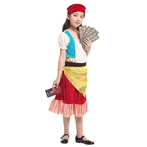 LOLANTA 5 Stück Kinder Zigeuner-Kostüm Mädchen Halloween Fortune Teller Rollenspiel-Outfit