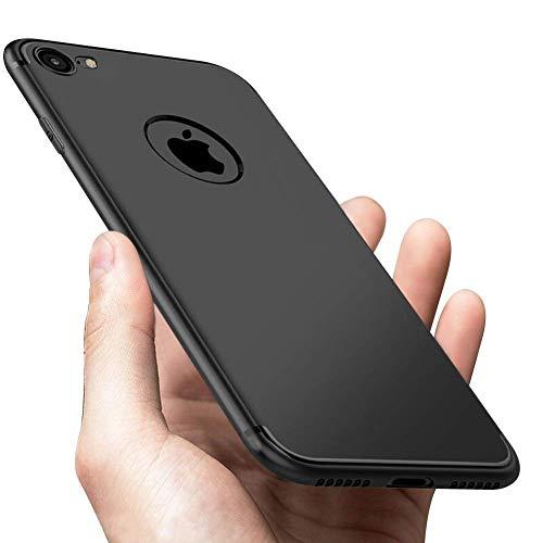 iPhone 7 iPhone 8 Hülle, Vkaiy iPhone 8 iPhone 7 Schutzhülle, Kratzfeste Soft TPU Case Anti-Rutsch Anti-Fingerabdruck Handyhülle,Ultra Dünnes Schwarz Case Bumper für iPhone 7 iPhone 8 (4,7