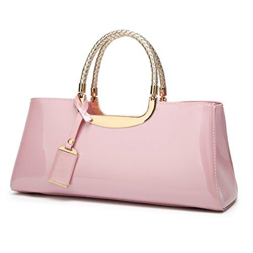 HGDR Bridal Dinner Handbag Bright Ladies Shoulder Bag Party Evening Wedding Borsa Della Frizione Della Borsa,Pink 34 * 11 * 15cm