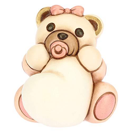Thun ® - teddy bimba piccolo con cuore personalizzabile - ceramica - h 6,7 cm - linea i classici