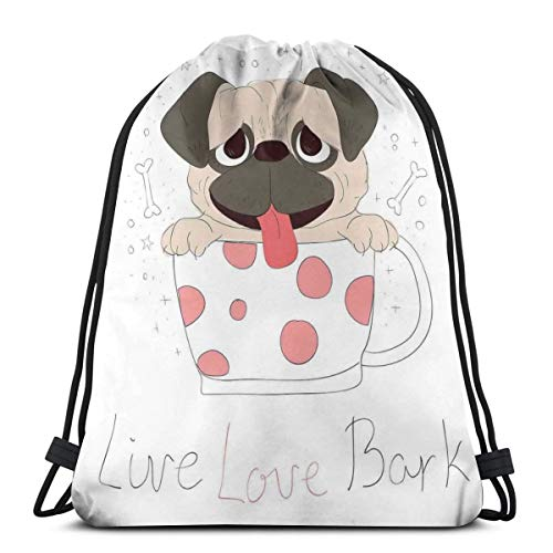 GONIESA Drawstring Backpack Unisex Bag For Gym Traveling, Live Love Bark Quote with A Puppy In Cup Happiness Funny Valentines Image